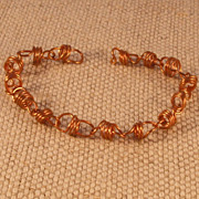 Copper Coiled Bracelet with Self Clasp