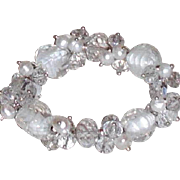 REDUCED Crystal, Art Glass and Freshwater Pearls Stretch Bracelet  | White