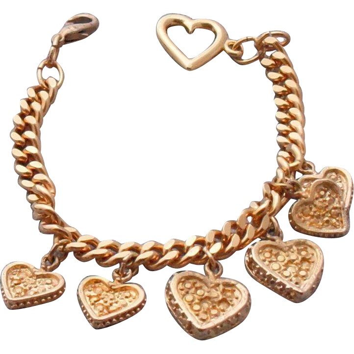 Vintage Gold Plated Heart Charm Bracelet | 6 Charms  7.75 inches