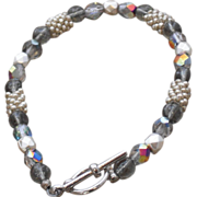 """Silver Seed Beads and Czech Glass Druk and Facetted Beads Bracelet - 7.75"""""""