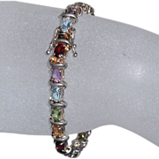 REDUCED Sterling Semi-Precious Multi-Color Bracelet  | 7.5 inches