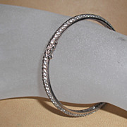 Sterling Silver bangle with CZs - 7.25 inches