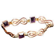 Vintage Simmons Gold Filled Art Deco Amethyst Glass Rhinestone Bracelet -7 inches
