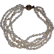 Biwa Pearl Bracelet - 5 Strands with 10 Kt Yellow Gold Clasp 8 – 8.5""