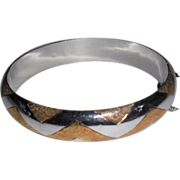 Sterling Bangle with Gold Chevron Wash - 7.25""