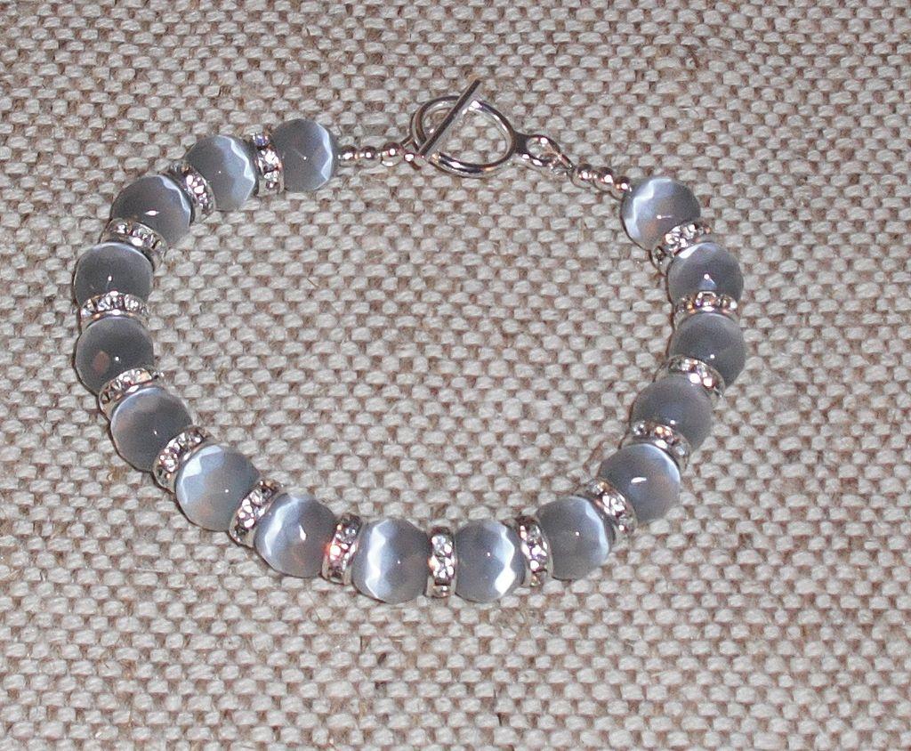 """Grey Cat's Eye Bracelet – Extra Large – 8.5"""" Can be Shortened"""