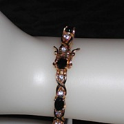 "Vintage .925 Gold Vermeil Bracelet with Sapphires - 7.5"""