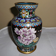 "SALE Small Black Cloisonné Vase – 6"" tall"