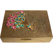 REDUCED Chinese Brass Box with Colored Rhinestone Decoration