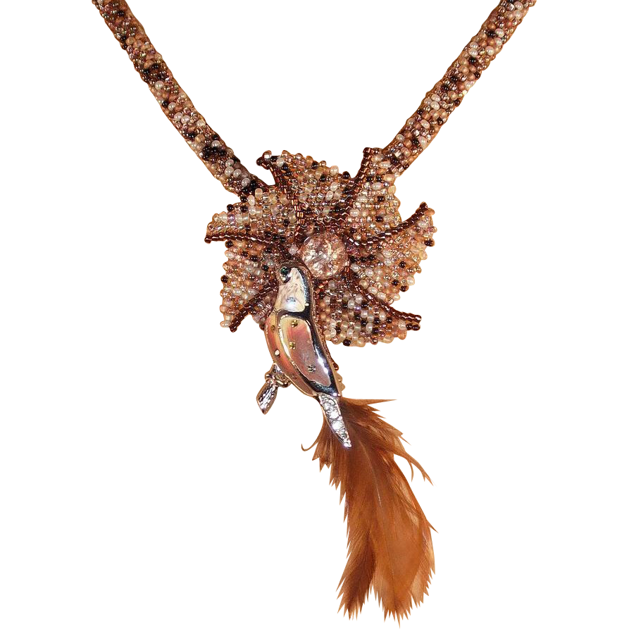 Brown Tweed Necklace with Bird Pin