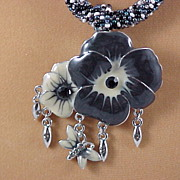 Black/White Tweed Seed Bead Necklace with Pansies