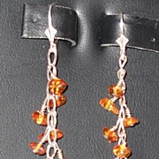 Amber and Sterling Earrings = Pierced