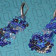 Unmatched Pair Blue Bead Earrings/Silver - Pierced