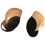 SALE 14K Yellow Gold and Onyx Post Earrings