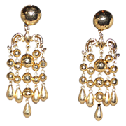 REDUCED Jose & Maria Barrera Gold Plated Chandelier Clip Earrings