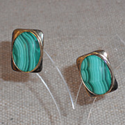 Malachite Earrings in Gold Washed Sterling Frame for Pierced Ear