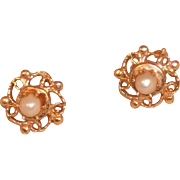 14K Yellow Gold and Pearl | Dainty | Post Earring