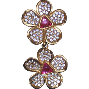 Caroline Herrera Double Daisy Clip Earrings
