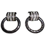 Whiting & Davis Silver Plated Large Mesh Doorknocker Earrings - Clips