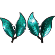 Vintage David Andersen Sterling Green Enamel Double Leaf Clips Earrings