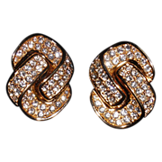 Vintage Christian Dior Gold Plated Rhinestone Knot Clip Earrings