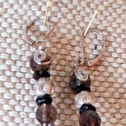 Smokey Quartz and Silver Earrings