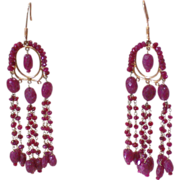 REDUCED Art Deco 18K Yellow Gold Ruby Chandelier Vintage Dangle