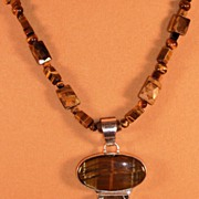 SALE Tigers Eye Necklace with Sterling Pendant