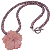 REDUCED Pink Tweed Seed Bead Necklace - 25""
