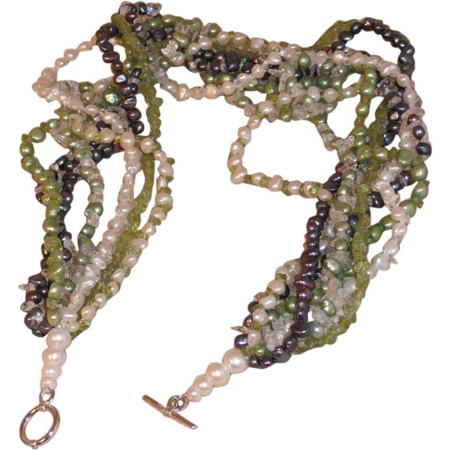 Torsade of Pearls and Semi-Precious Chips – 20""