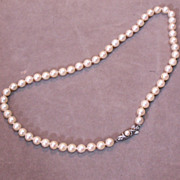 Cultured Pearls – Hand knotted with Sterling Clasp – 16""