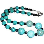 Turquoise Magnesite / Facetted Carnival Glass Necklace with Silver Clasp – 26""