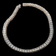 """Art Deco Sterling Silver Square Rhinestone Necklace -14.25"""""""