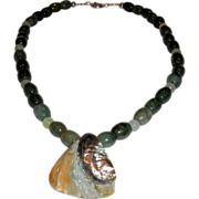 Green Jasper / Serpentine Necklace with Abalone Knot Pendant -21""