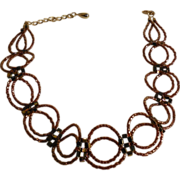 "Bronze Tubular Seed Beaded Choker – 14.5"" + 3"""