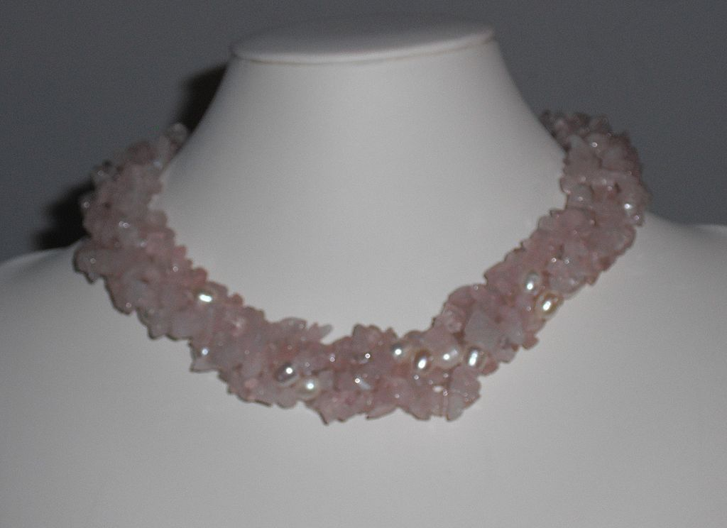"""Vintage 1980's Rose Quartz and Freshwater Pearl Twisted Torsade Necklace  - 17.25"""""""