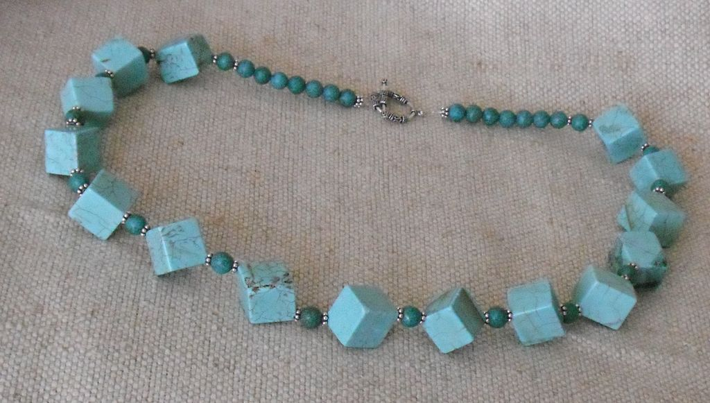 """Turquoise Magnesite and Bali Silver Necklace – 30.5"""""""