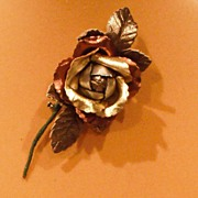 SALE PENDING Metallic Multi Leather Rose with Leaves - Pin by MUSI