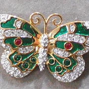 REDUCED Swarovski Signed Crystal Enamel Butterfly Brooch/Pin