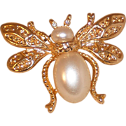 Gold Plated Bug Pin – Fly with Faux Pearl and Rhinestone