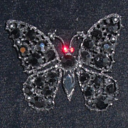 REDUCED Vintage Weiss Brooch Japanned Butterfly Jet Black Stones