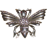 Sterling Silver Bug Pin/Brooch with Rhinestones