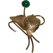 Vintage Hobe' Gold Filled Leafy Pin/Brooch with Faux Jade