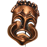 Renoir Signed Copper Tragedy Mask Pin