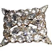 Dimensional Rectangular Rhinestone Pin Brooch