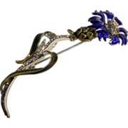 Coro Enameled Blue Thistle Pin Brooch with Rhinestone Accents