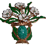 KRAMER Flower Vase Pot Glass Faux Pearl Enamel Brooch Pin