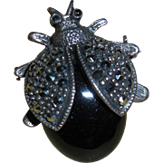 Sterling Silver Marcasite Beetle Pin