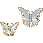 Large and Small Mother of Pearl Butterfly Pins Brooch