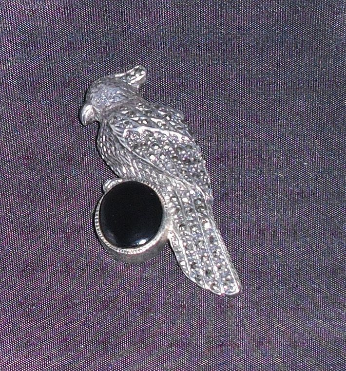 Vintage Sterling, Marcasite and Onyx Bird Pin